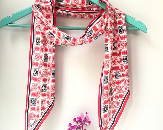 Vera Neumann long silk vintage scarf. red, navy on white