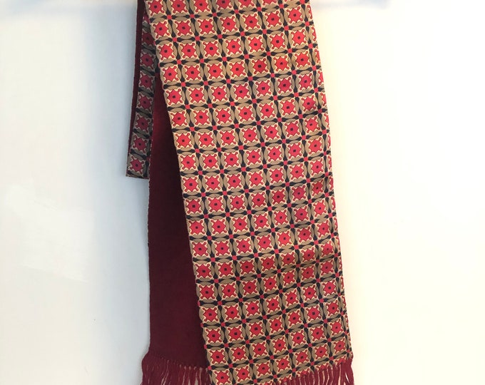 "Vintage Opera Scarf.  Silk with wool lining. Burgundy with taupe & black pattern 7"" x 62"""