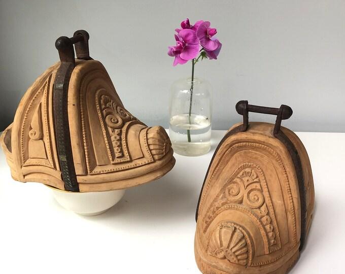 Pair of vintage Chilean Huaso - Hand Carved Wood Stirrups.