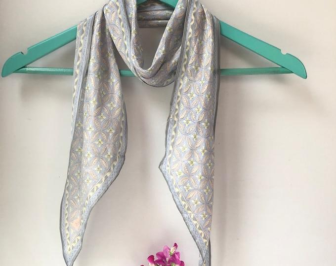 SACHA long silk vintage scarf. Pale peach, yellow, blue and grey
