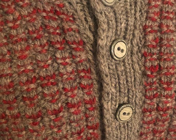 Vintage wool mens cardigan XL Burgundy and Grey