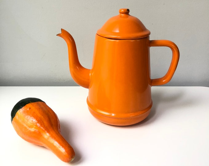 Vintage enamelware orange coffee pot