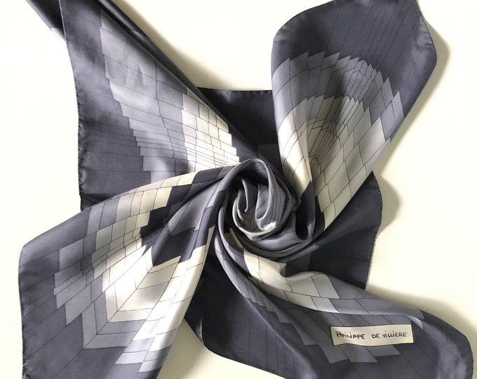 "Philippe de Villiere vintage silk scarf. Grey 30.5 x 29.5"""