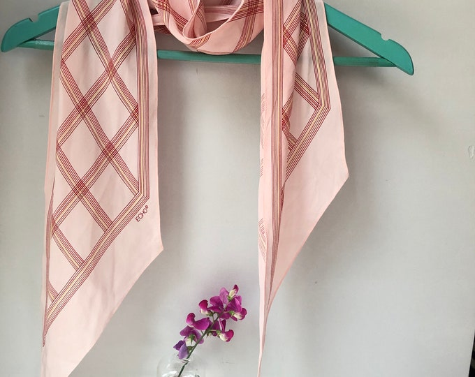 ECHO long silk vintage scarf. Thin red, yellow, brown lines on pale pink