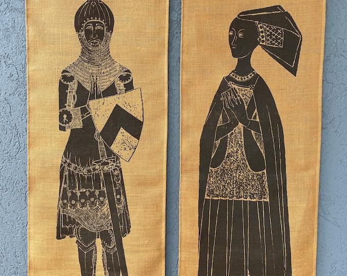 Pair of vintage screen prints of medieval brass rubbings on burlap