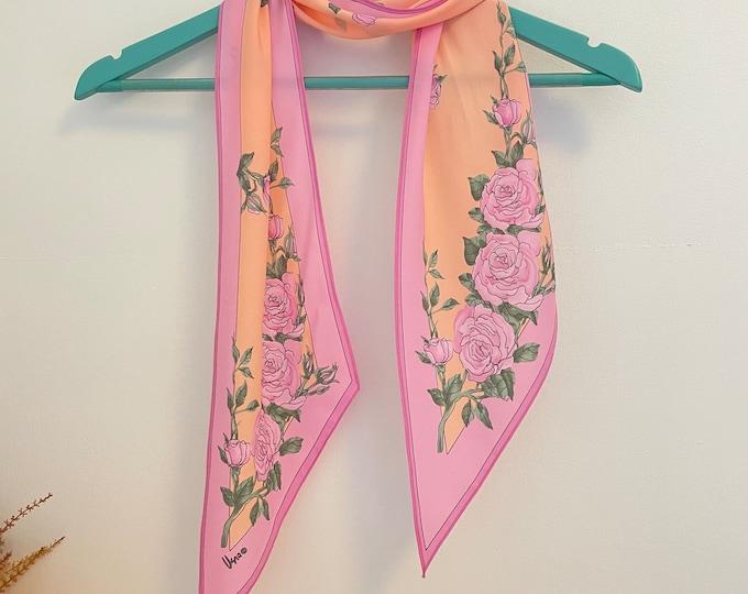 Vera Neumann long vintage scarf. Pink roses/border, Apricot background, green leaves