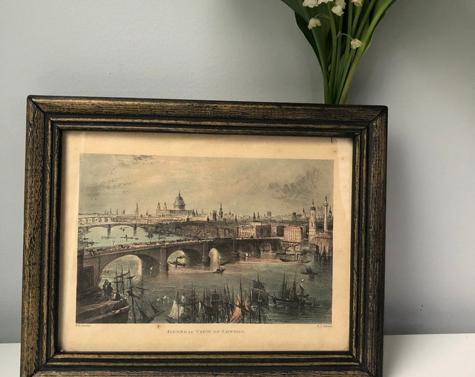 """Vintage framed hand tinted print of engraving """"General View of London"""" 7 1/4"""" x 9 1/2"""""""