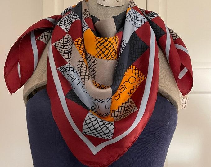 EMANUEL UNGARO  100% silk scarf. Navy, mustard, pale blue, burgundy with burgundy border