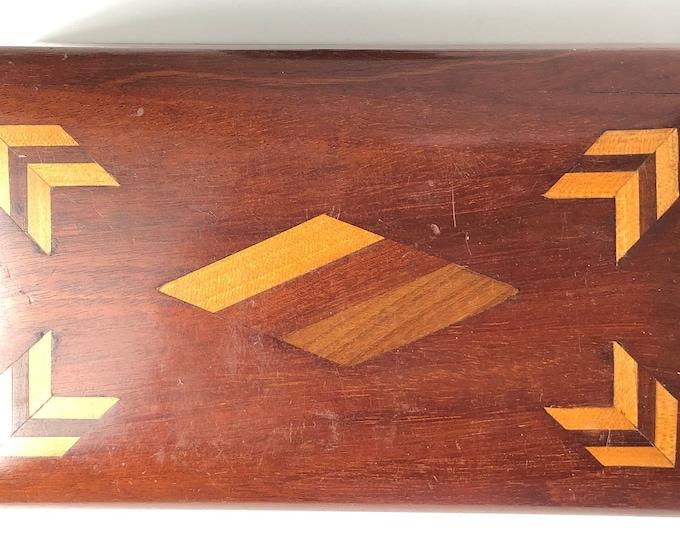 Wood inlay lidded desk box