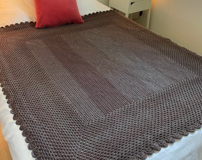 Handmade Crocheted Afghan - Shades of Brown with scalloped edges