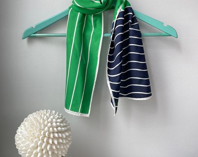 "Vera Neumann long vintage scarf. Green, navy & white stripes. 10x50"""
