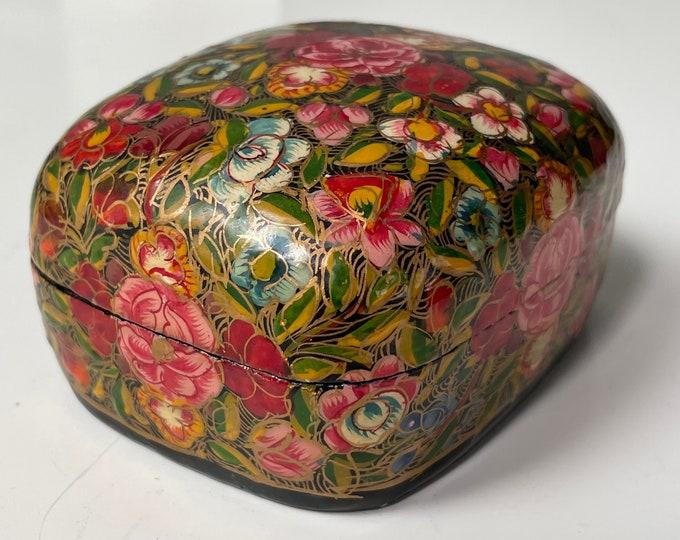Vintage Kashmiri lidded box with floral design