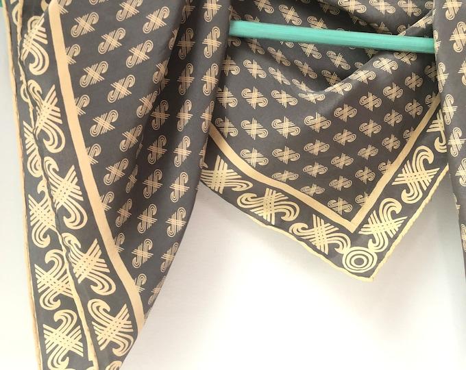 """Vintage JAEGER signature medium silk scarf (24"""" square). cream and grey"""
