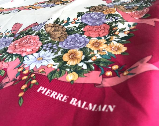 "Vintage PIERRE BALMAIN large silk scarf (35"" square). Burgundy, cream floral, birds, cherubs"