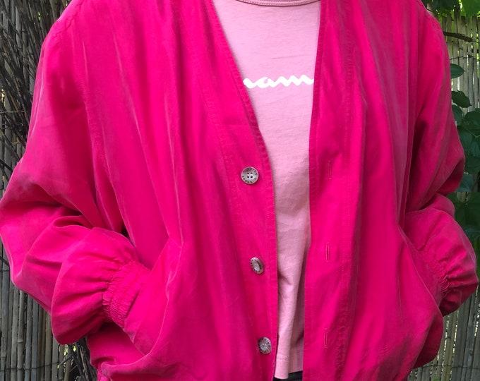 Kris Kross fuchsia pink silk jacket, bomber- style  1980s