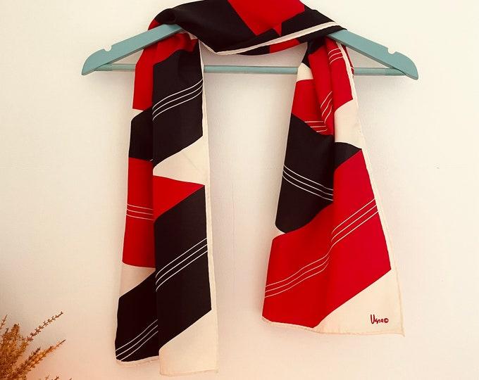 Vera Neumann vintage scarf. Black, cream & red