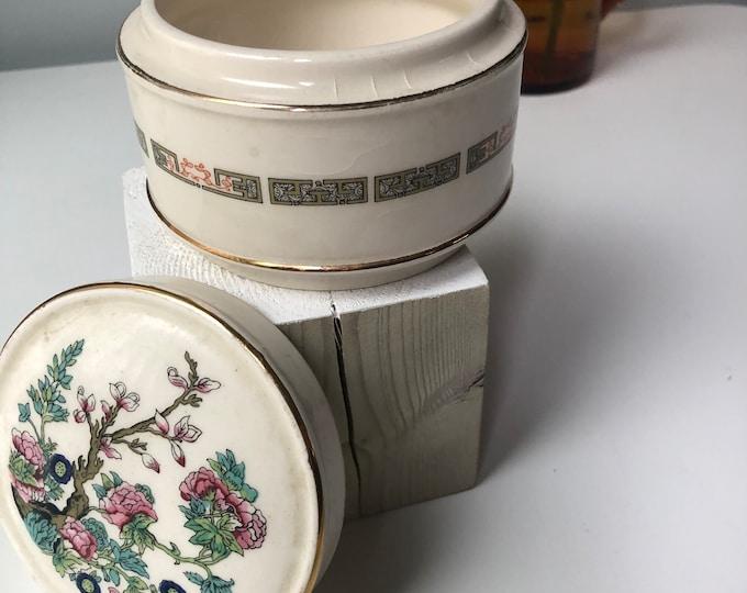 "Vintage Indian Tree Sadler round lidded trinket box 3"""