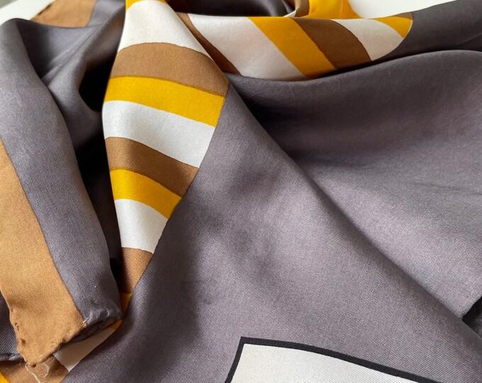 "Vintage YVES SAINT LAURENT  100% silk. Yellow, white, grey 26"""