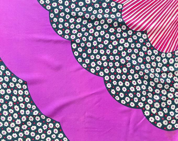 "1970s KREIER (Switzerland) 100% silk, 27"" square purple,dark navy"