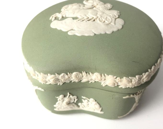 Vintage Wedgwood Sage Green Jasperware lidded trinket box