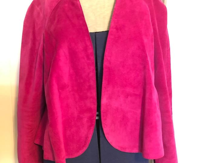 Genuine suede fuchsia cropped swing jacket