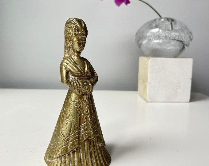 "Vintage brass medieval lady 5""t"