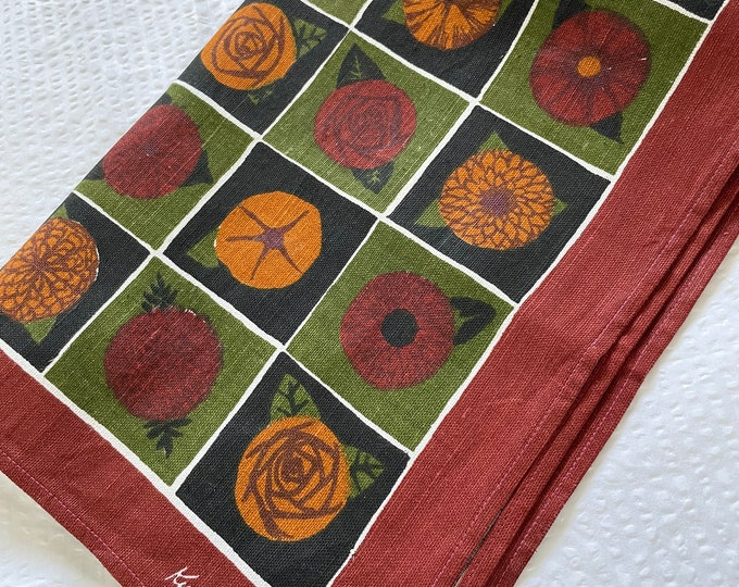 Vintage Ken Scott Linen tea towel. Mid century brown, orange, olive.