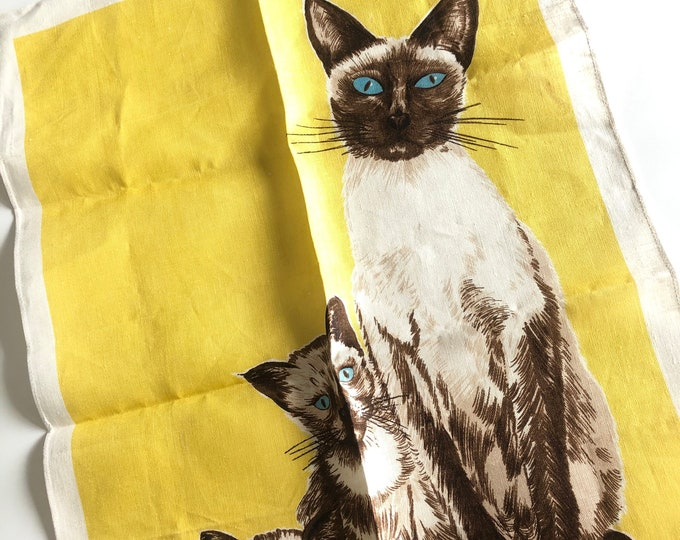 Vintage Siamese Cats Ulster Linen Large Tea Towel.