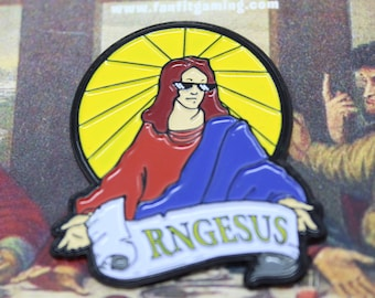 Funny DND Pin -  RPG Lapel Pin -  Anyone who plays Dungeons and Dragons has experienced RNG Jesus - this is a great d&d gift.
