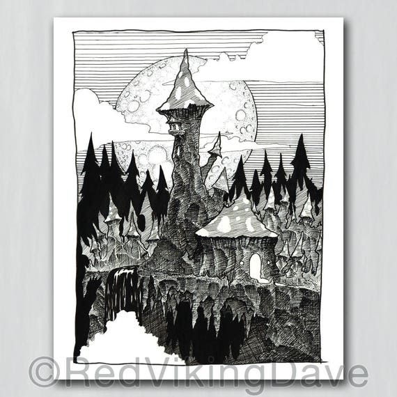 Fantasy Illustration Fine Art Giclee Print Wizard/'s Smoke Role Playing Game Concept Art.