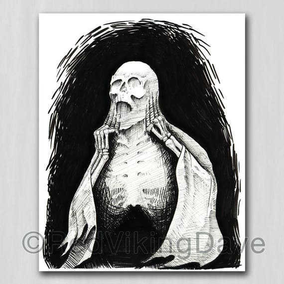 Death Art Print   Gothic Illustration  Pen /& Ink Drawing print