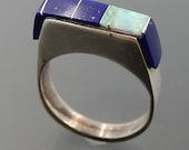 Vintage Navajo sterling silver lapis lazuli gibson opal inlay bolt design ring size 6