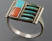 Charlene Zunie Zuni sterling silver turquoise needlepoint coral inlay ring size 7.5