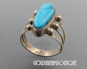 Running bear shop Navajo sterling silver turquoise beaded split shank ring (7.5)