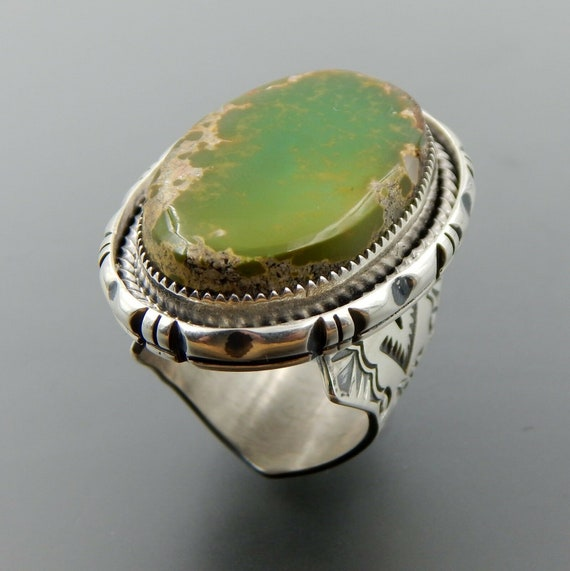 Ethnic Wear Handmade Jewelry Green ite Sterling Silver Overlay Ring Size 8.75 US