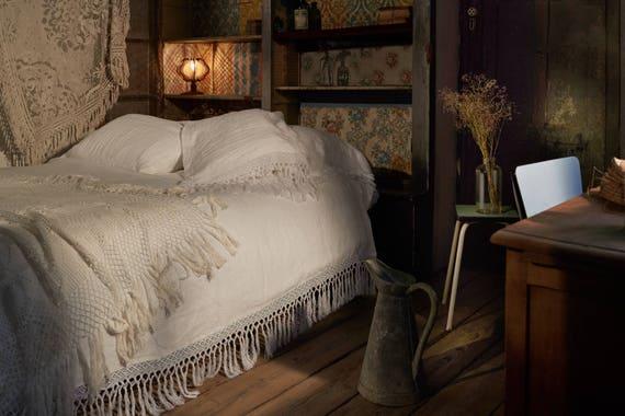 blanc magnifique housse de couette en lin macram sans etsy. Black Bedroom Furniture Sets. Home Design Ideas
