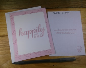 Wedding Greeting Card, Happily Ever After Wedding Day Card, Wedding Day Card, Pink Wedding Day Card