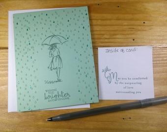 Rainy Days Card, Sympathy Card, Sympathy with Rain Umbrella Card, Brighter Days Card