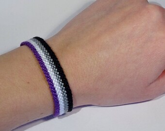 Asexual Pride Flag bracelet - love friendship handwoven support respect awareness macrame asexuality armcandy bohemian hippie