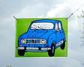 Renault R4 suncatcher blue 4L quatrelle window decoration plexiglass perspex stained glass art painted car oldtimer