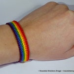 Gay Pride Flag bracelet - love friendship handwoven giftidea support respect awareness macrame homo lesbian LGBT