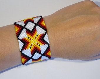 Friendship bracelet - macrame bresilien snowflake star ibiza beachwear hippie gypsy boho handwoven aztec mochila bohemian