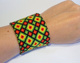 XXL friendship bracelet - macramé handwoven brésilien hippie ethnic folk ibiza beach extra wide gipsy bohemian boho aztec