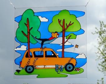 Renault R4 suncatcher scene 4L quatrelle orange window decoration plexiglass perspex stained glass art painted car oldtimer