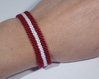 Latvian flag bracelet - Latvia Latvija handwoven giftidea country macrame hippie boho bohemian beach
