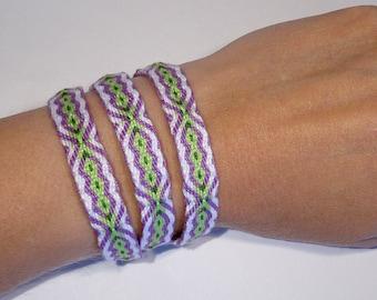 Triple woven bracelet - tablet weaving handwoven ethnic friendship gypsy strap card weaving hippie tribal cotton mochila inkle
