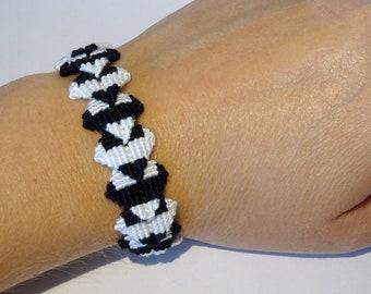 Zolino friendship bracelet - macrame hippie cotton gypsy ethnic boho bohemian bresilien beachwear ibiza black white wristband