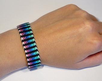 Woven bracelet - tablet weaving handwoven ethnic card weaving aqua boho hippie gipsy bohemian gift idea