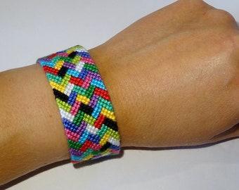 Friendship bracelet - macrame gypsy mochila hippie braided ethnic bresilien wayuu tribal boho bohemian multicolor