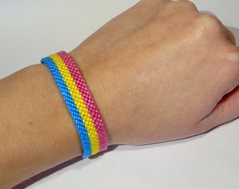 Pansexual Pride Flag bracelet - love friendship handwoven giftidea support respect awareness macrame pansexuality LGBTQ